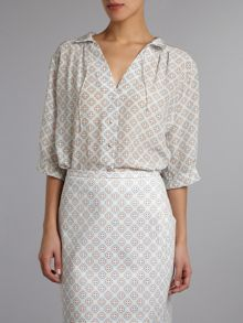 geometric small print silk shirt