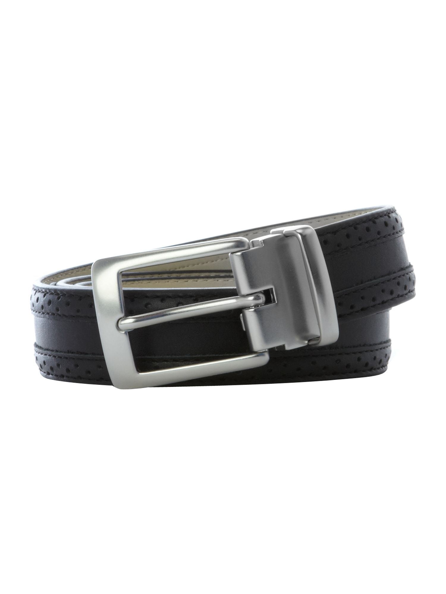 Leather brogue belt