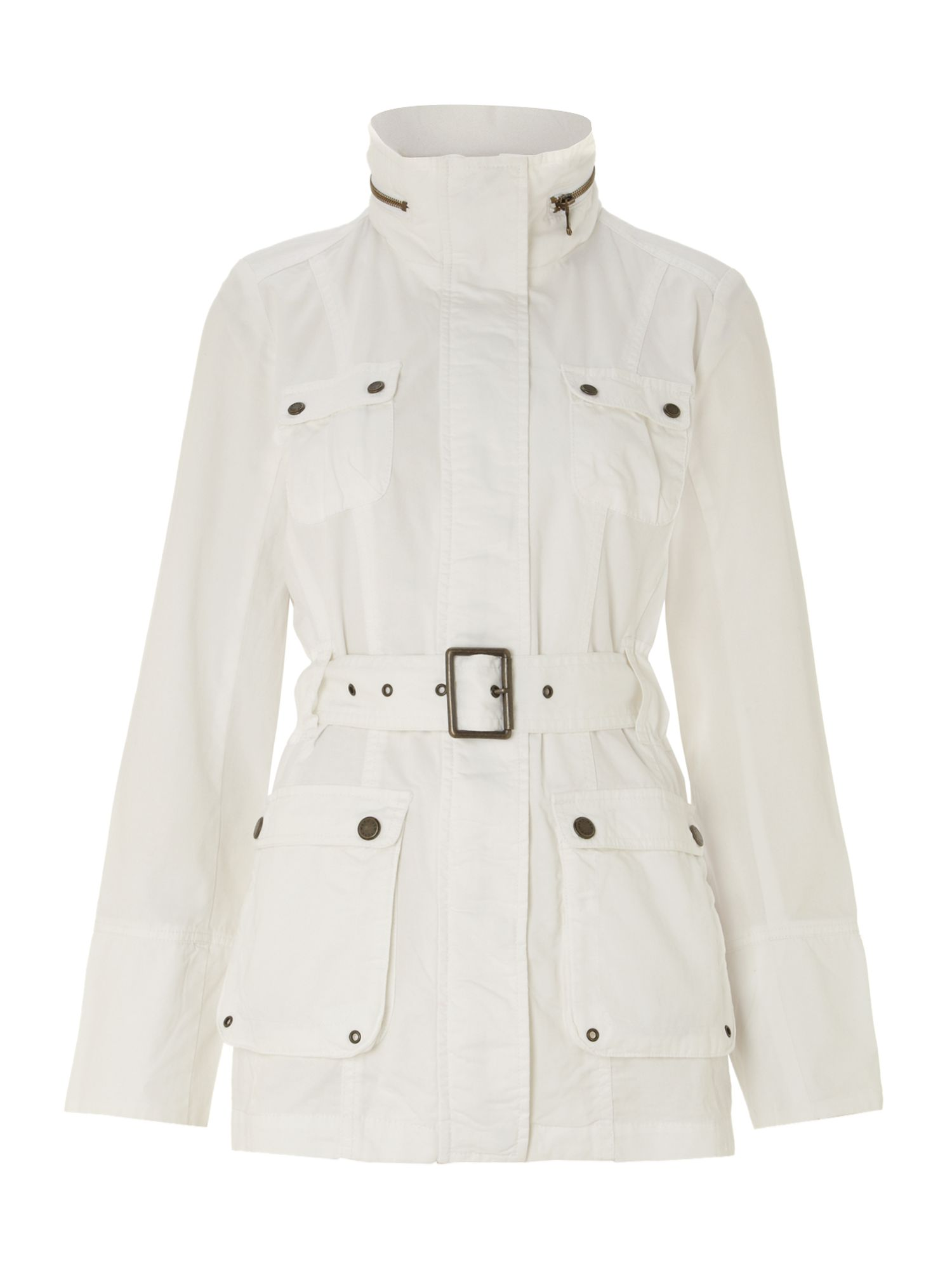 Brushed cotton belted coat