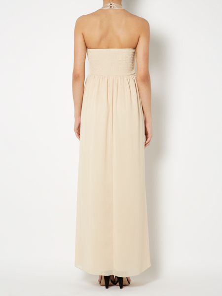 Little Mistress Embellished maxi halter neck top