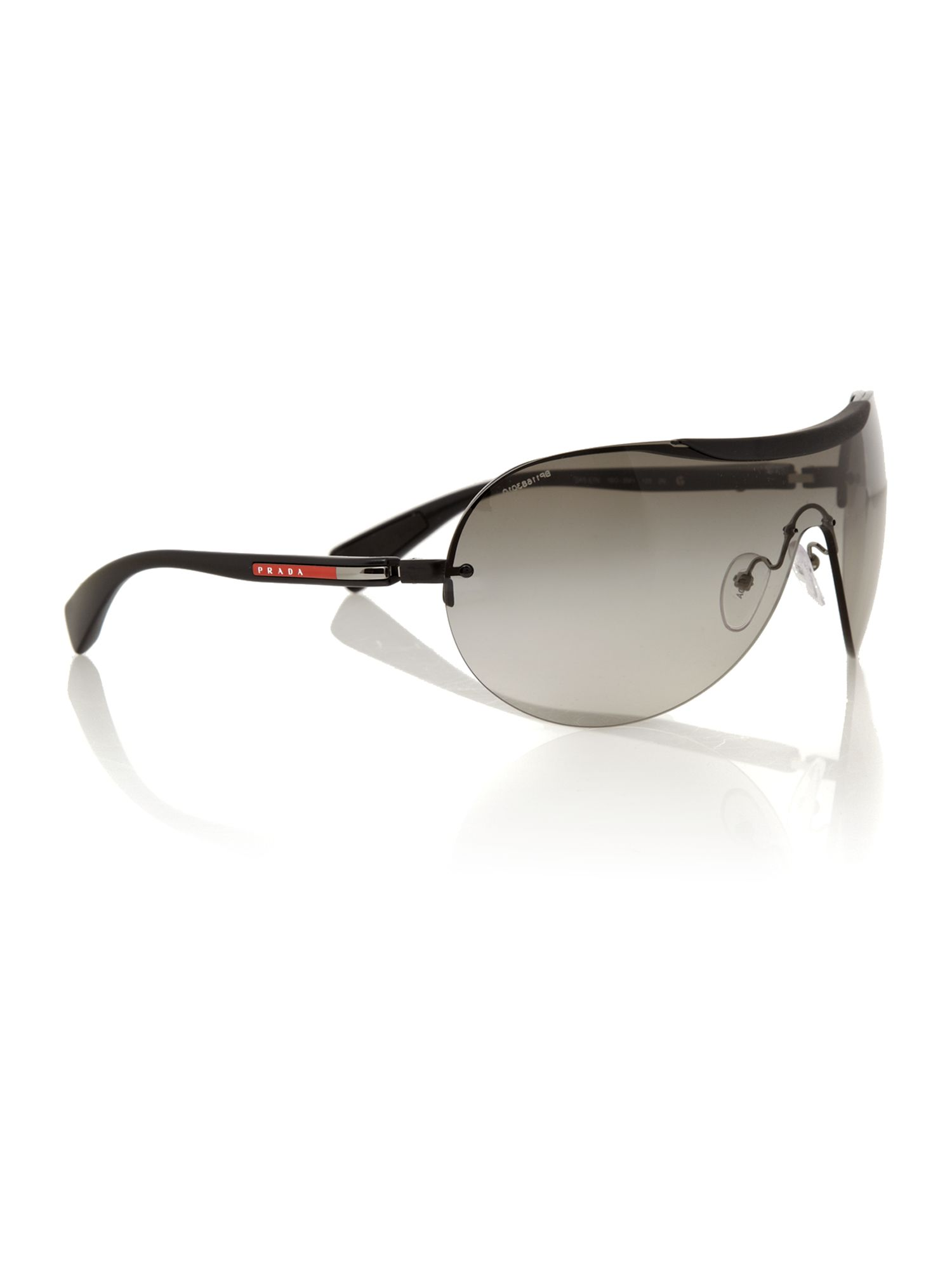 Prada Linea Rossa men`s black rectangle sunglasse