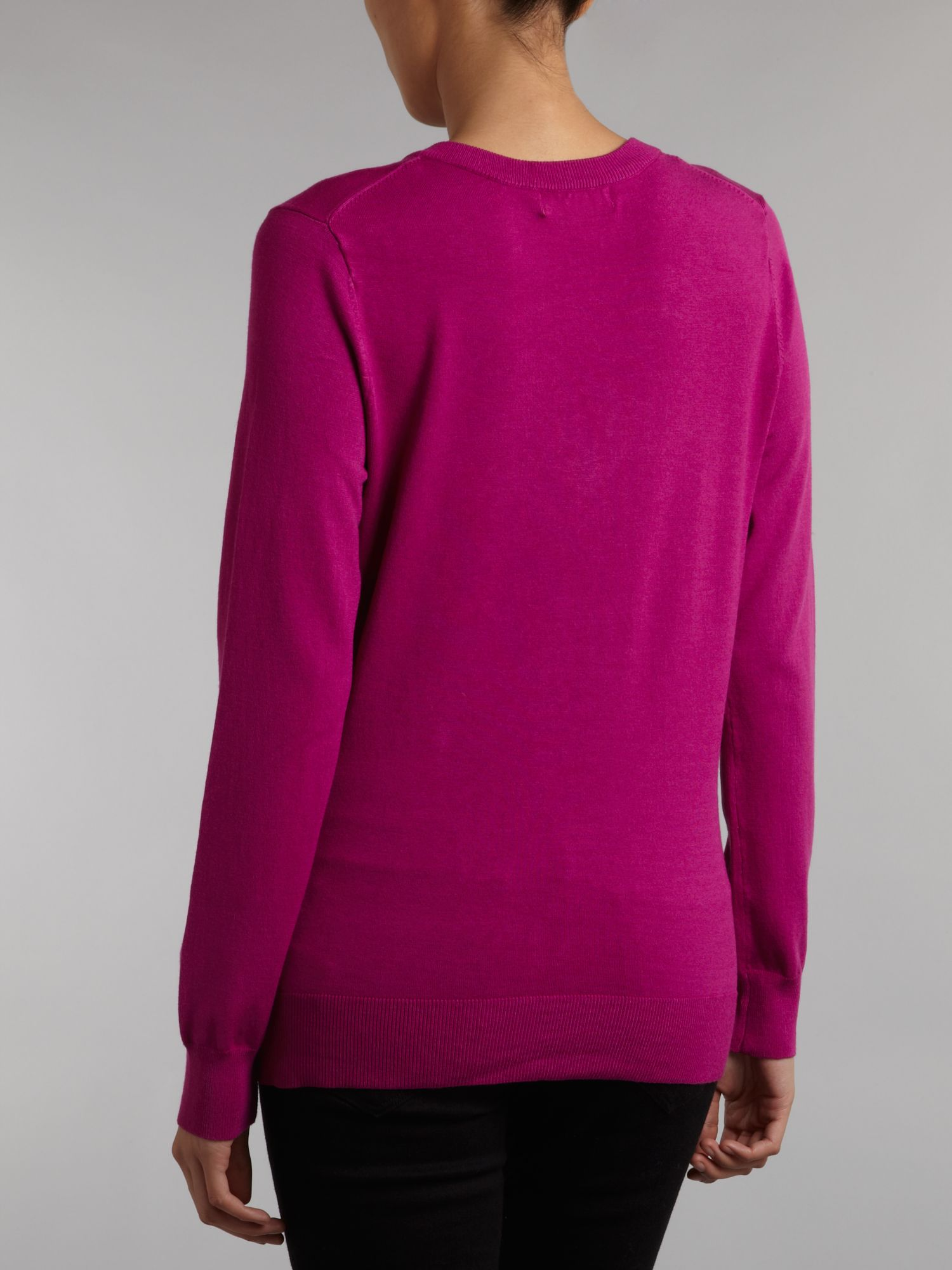 Long sleeve pullover with neck tie