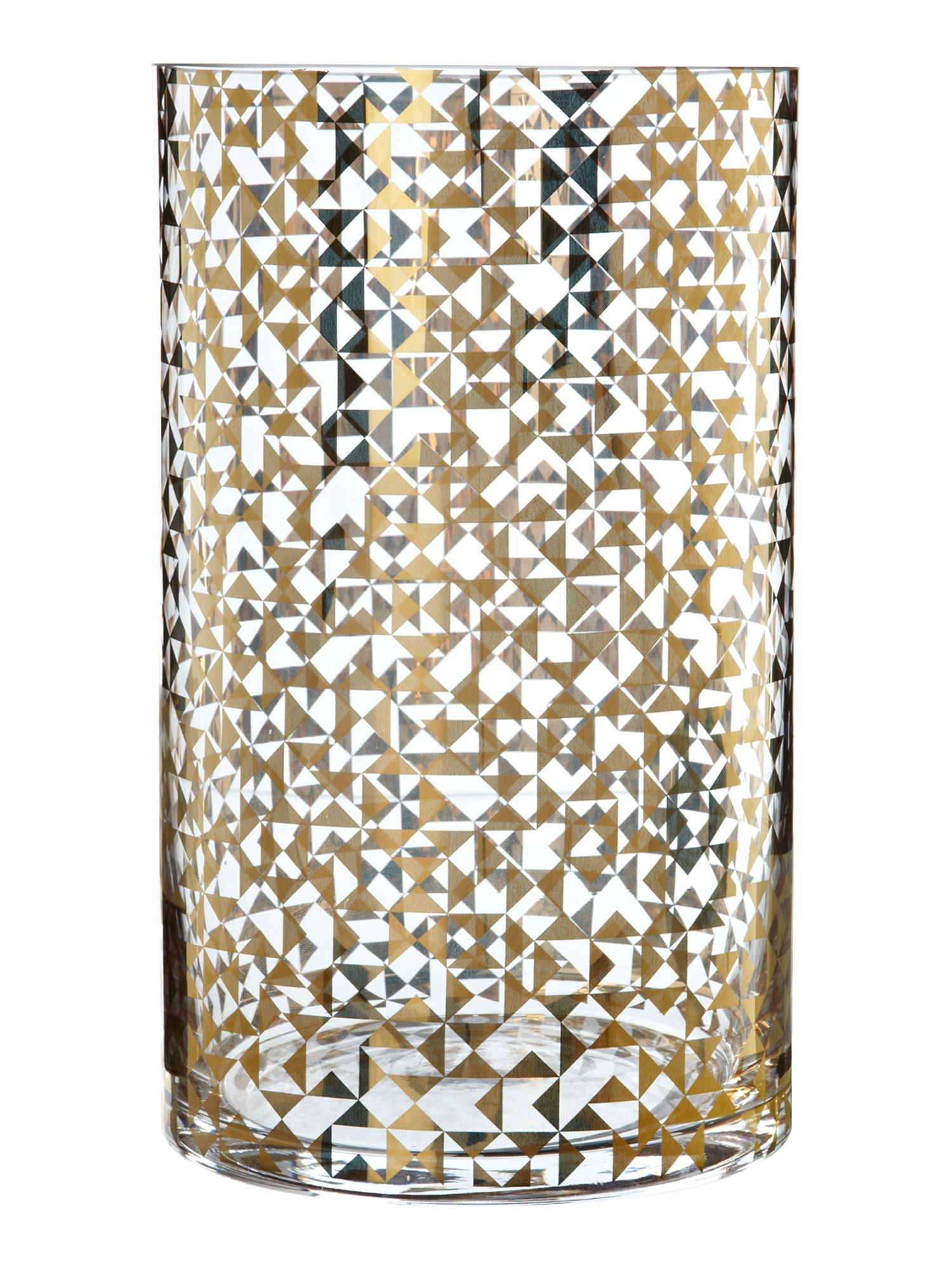 Gold geometric design vase, medium