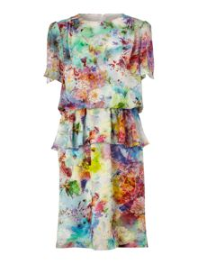 Digital print peplum dress