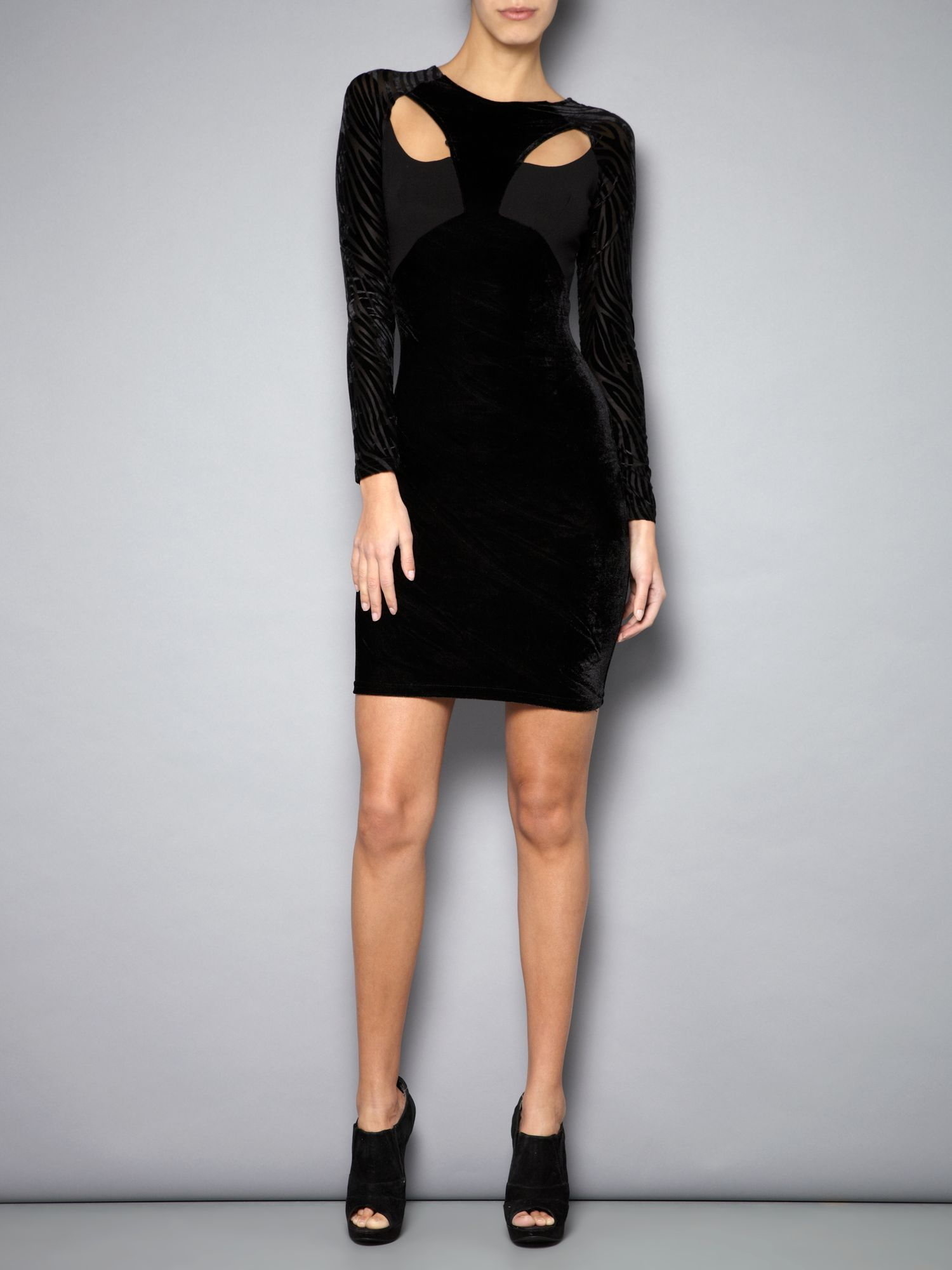 Bodycon velvet panel dress