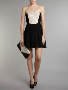 Strapless embellished bodice dress