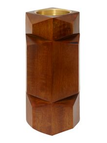 Wooden pillar candle holder medium
