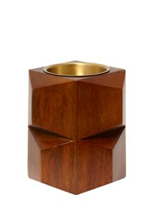 Wooden pillar candle holder small