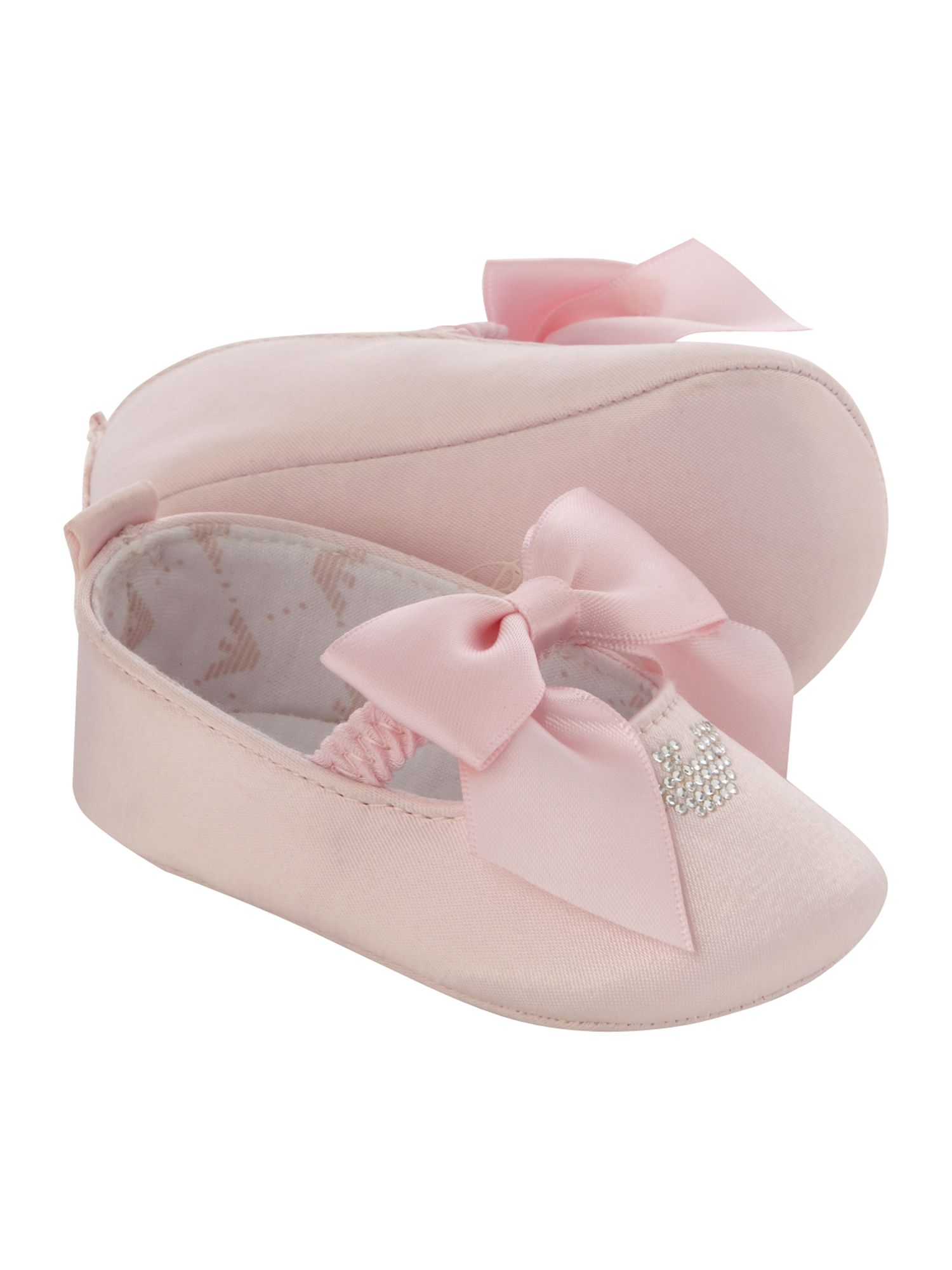 Baby girl`s satin bow pumps