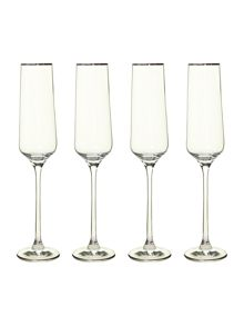Casa Couture Platinum band flutes, set of four