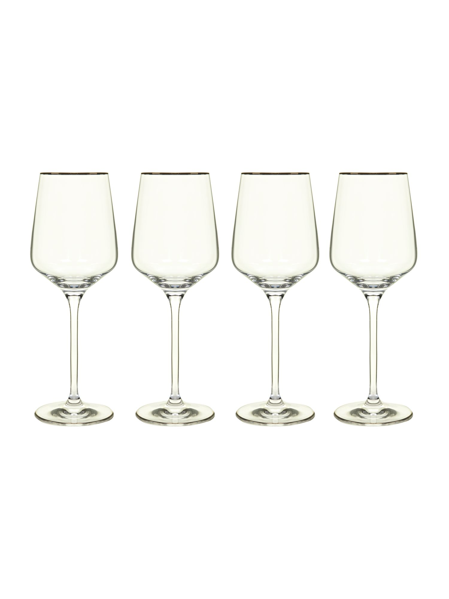 Platinum band red wine glasses box of 4