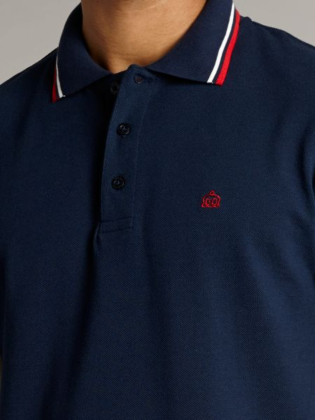 Merc Short Sleeve Tipped Logo Polo