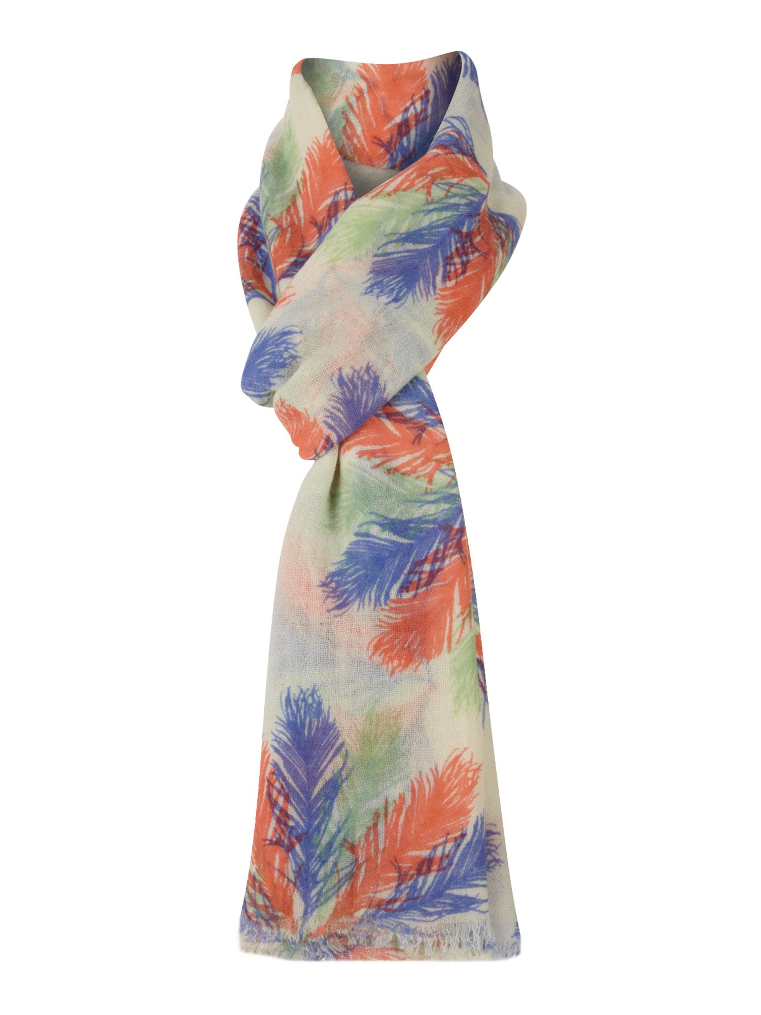 Feather fan print scarf