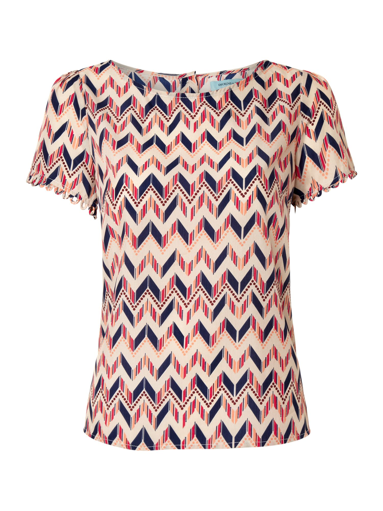 Ladies zig zag print shell top