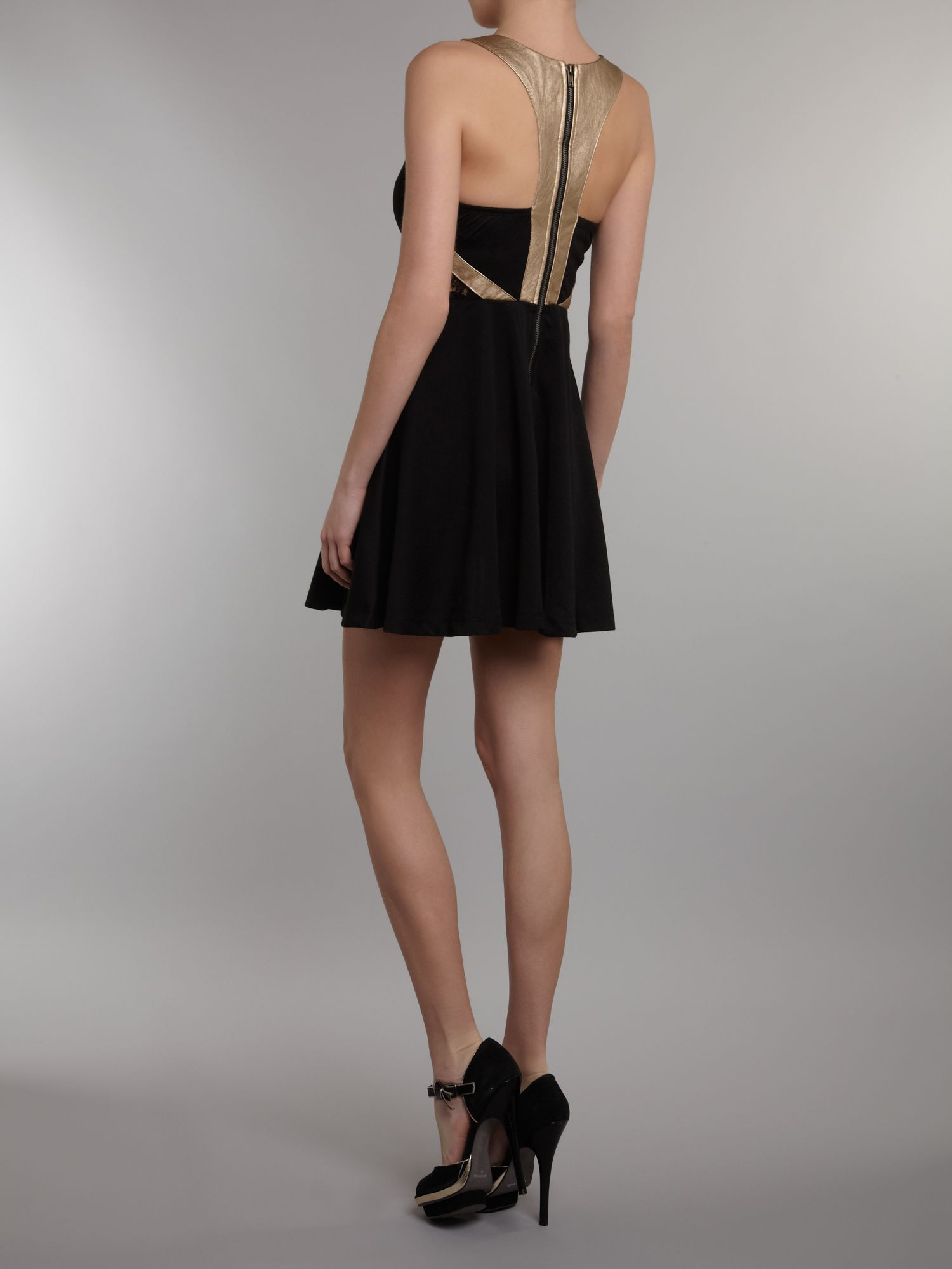 Gold harness skater dress