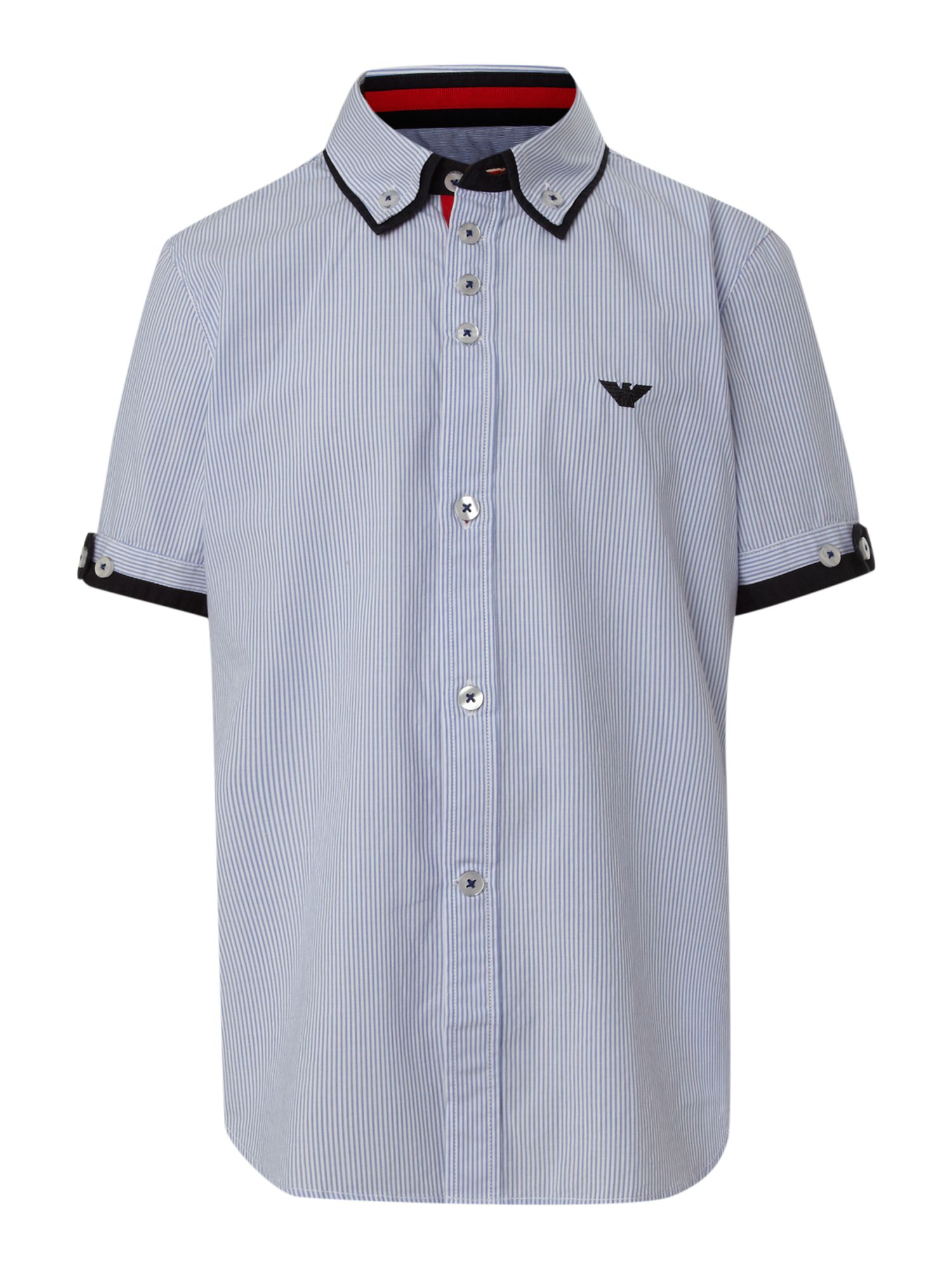Boy`s short-sleeved fine stripe shirt