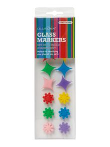 Cellardine Set of 12 glass markers, flowers and stars
