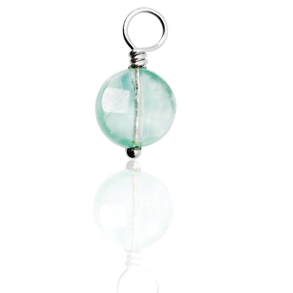 Green Fluorite Gemdrop On Silver Wire