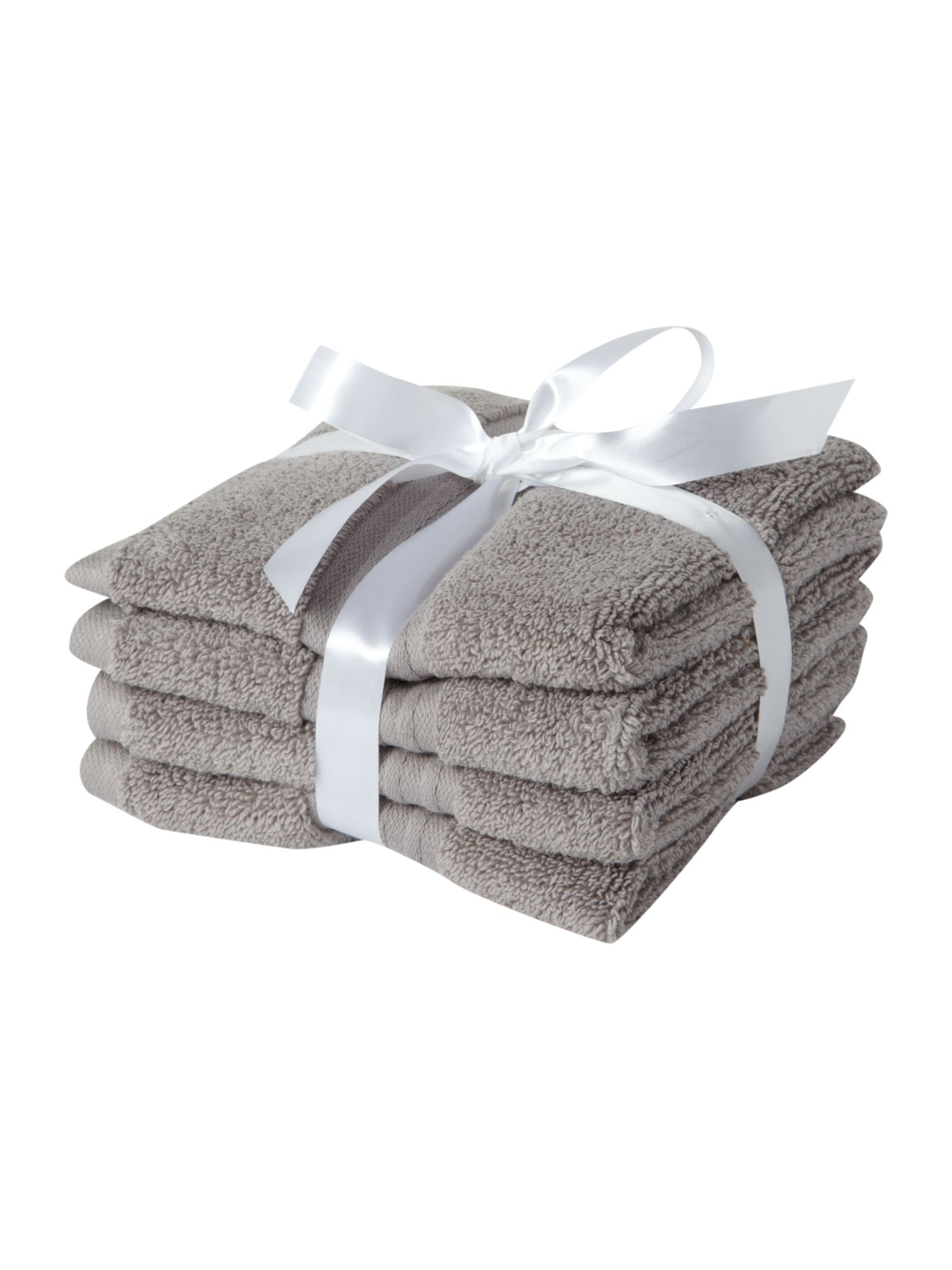 Zero twist set of four face cloths soft grey