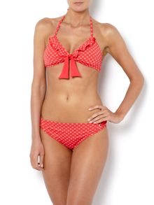 Dickins & Jones Ditsy spot with frill halterneck bikini top