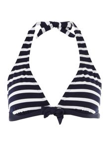 Nautical stripe halterneck bikini top