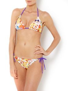 Flower pop triangle bikini top
