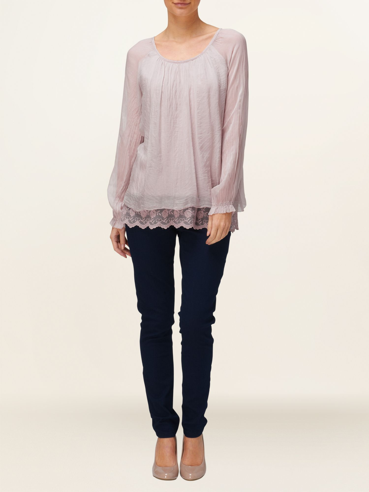 Padma lace trim silk blouse