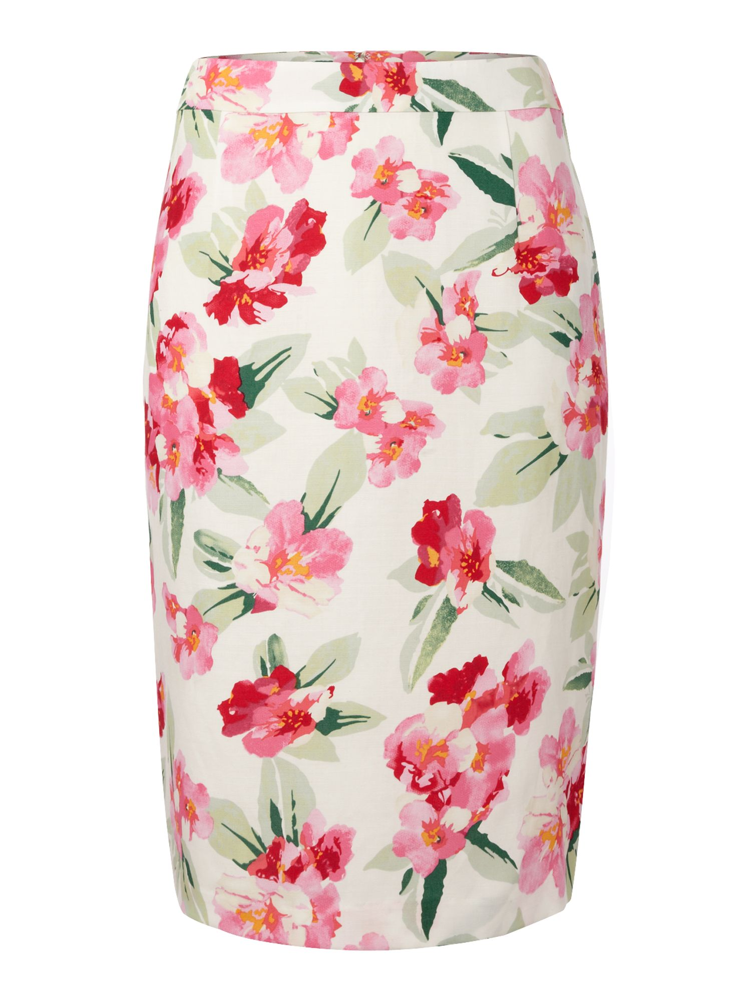 Printed linen pencil skirt