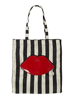 Lips and stripes foldaway shopper