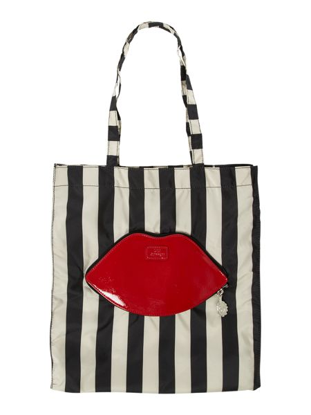 Lulu Guinness Lips and stripes foldaway shopper