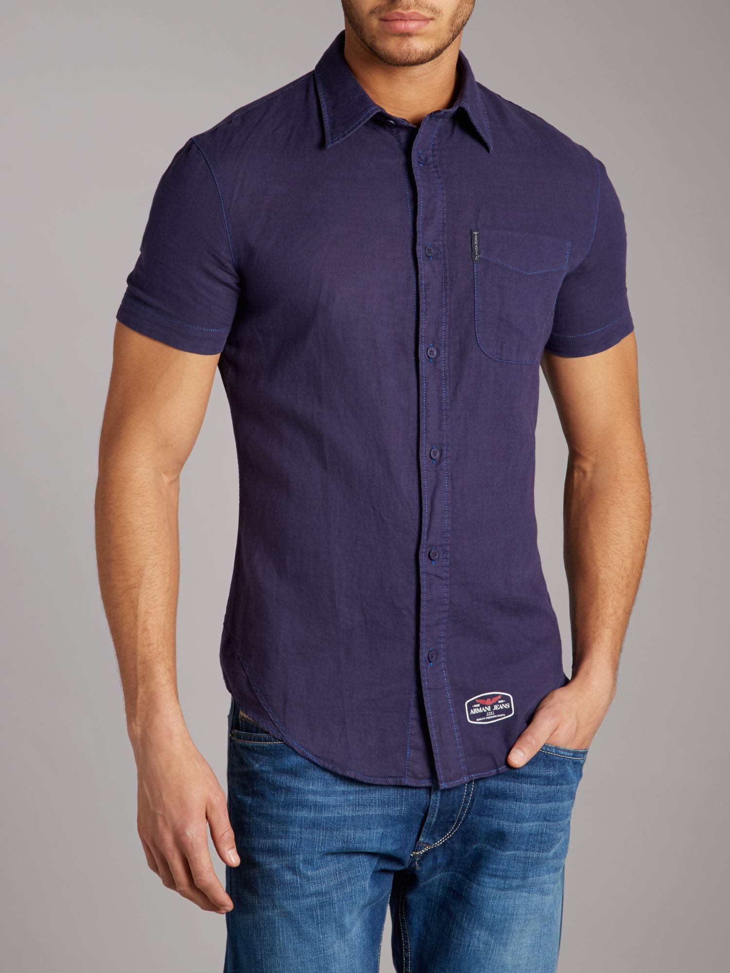 Short sleeved linen shirt