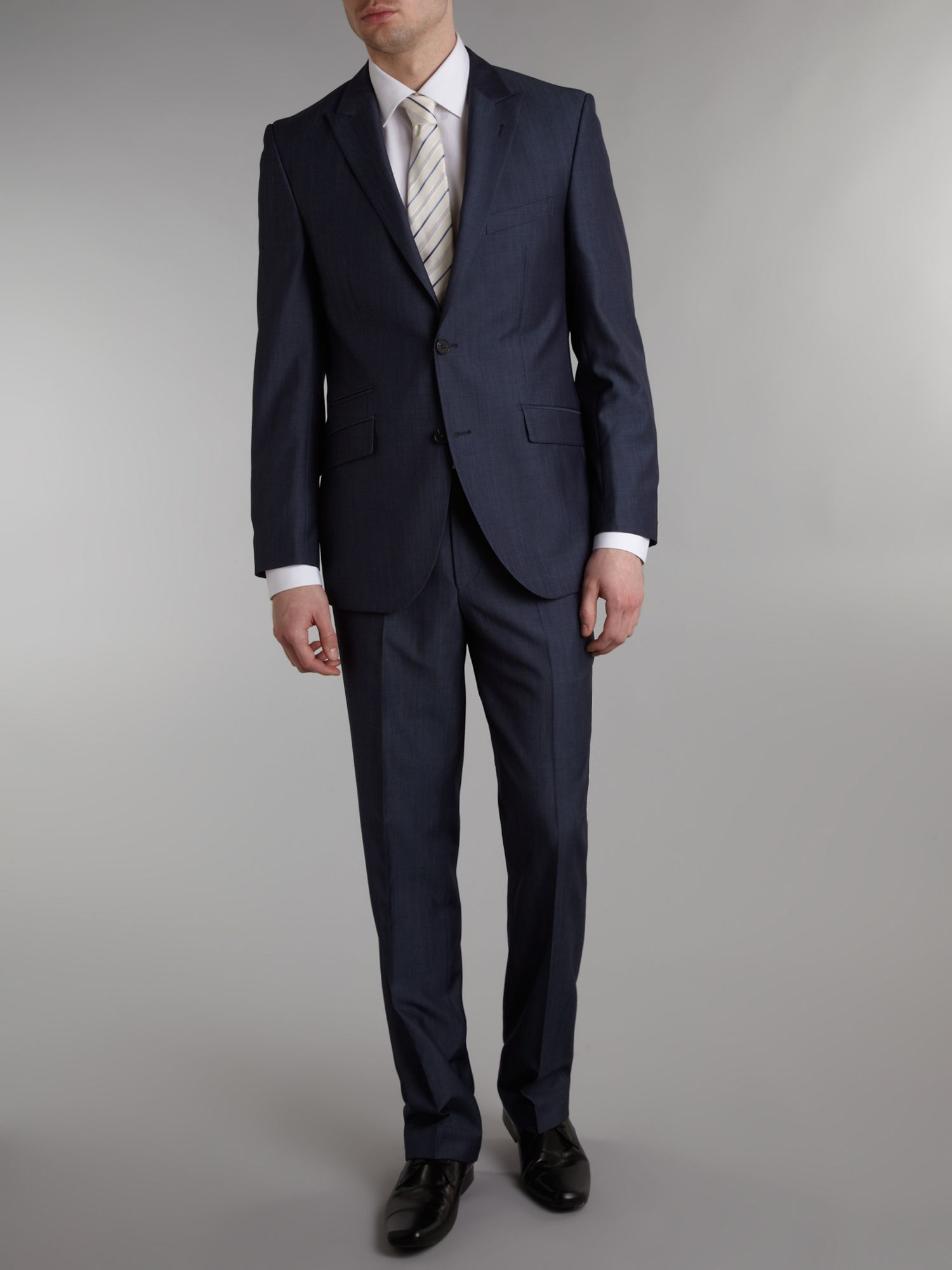 End on end textured peak lapel suit