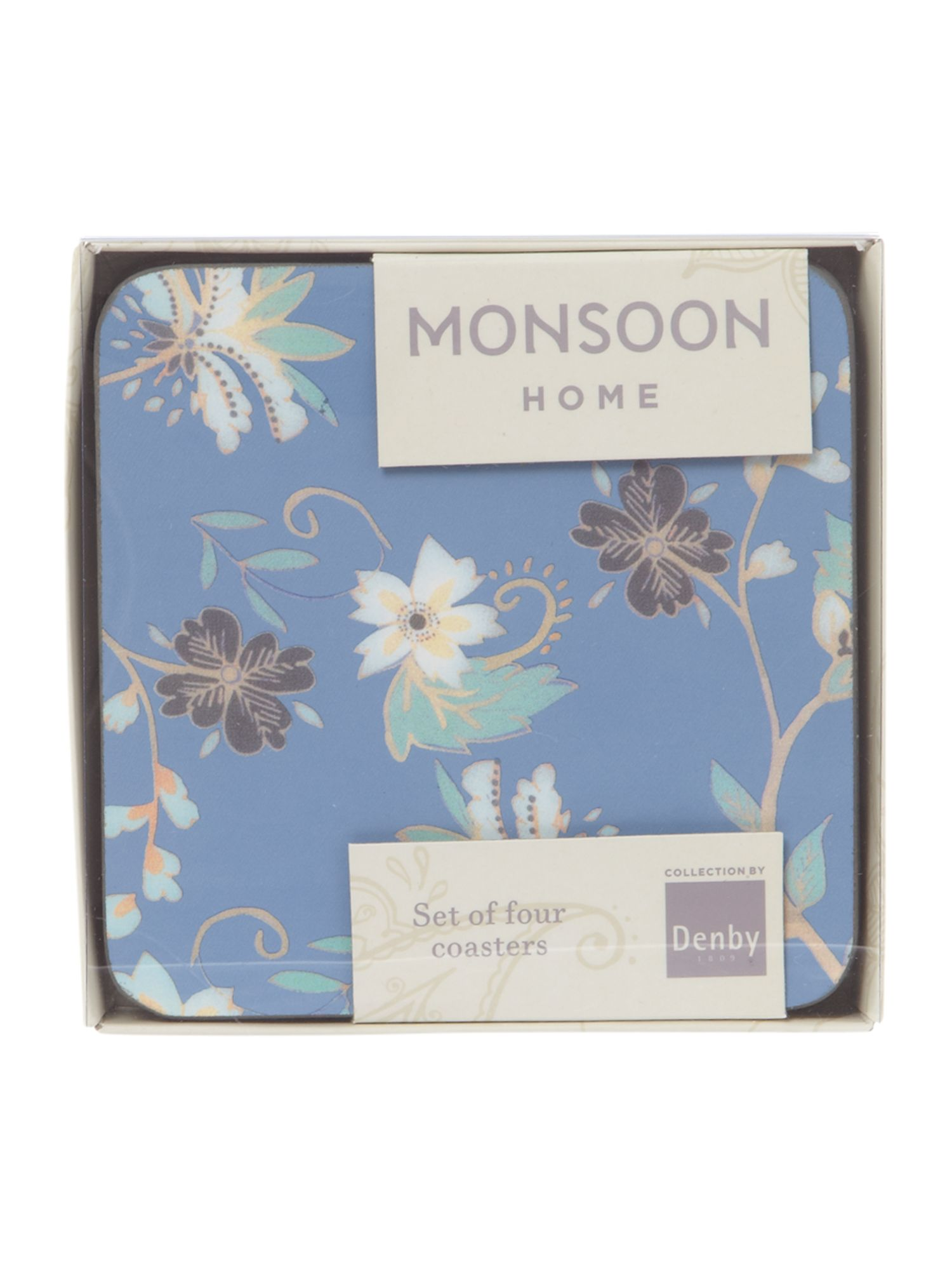 Monsoon veronica blue 4 x coasters
