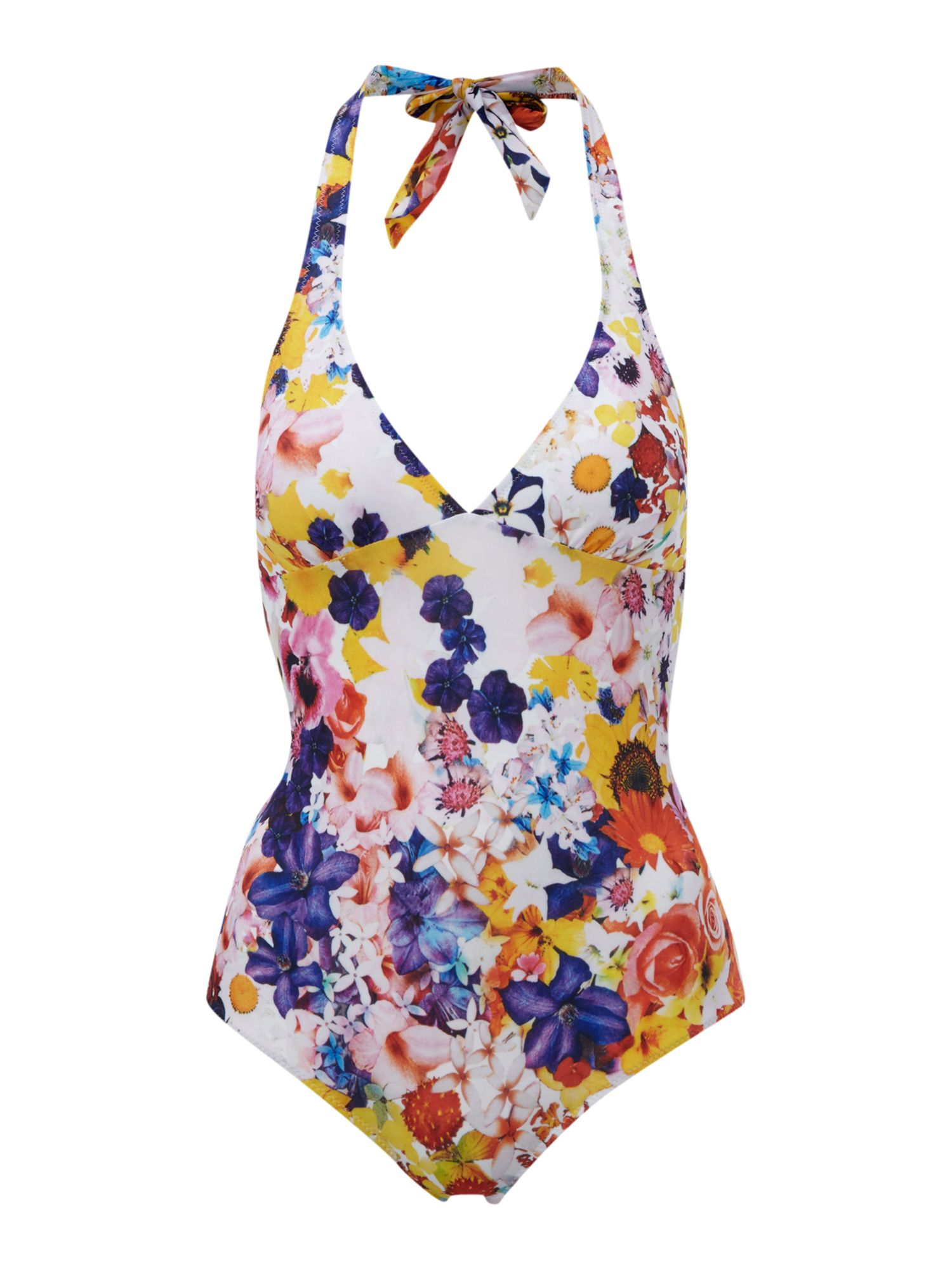 Flower pop frill swimsuit