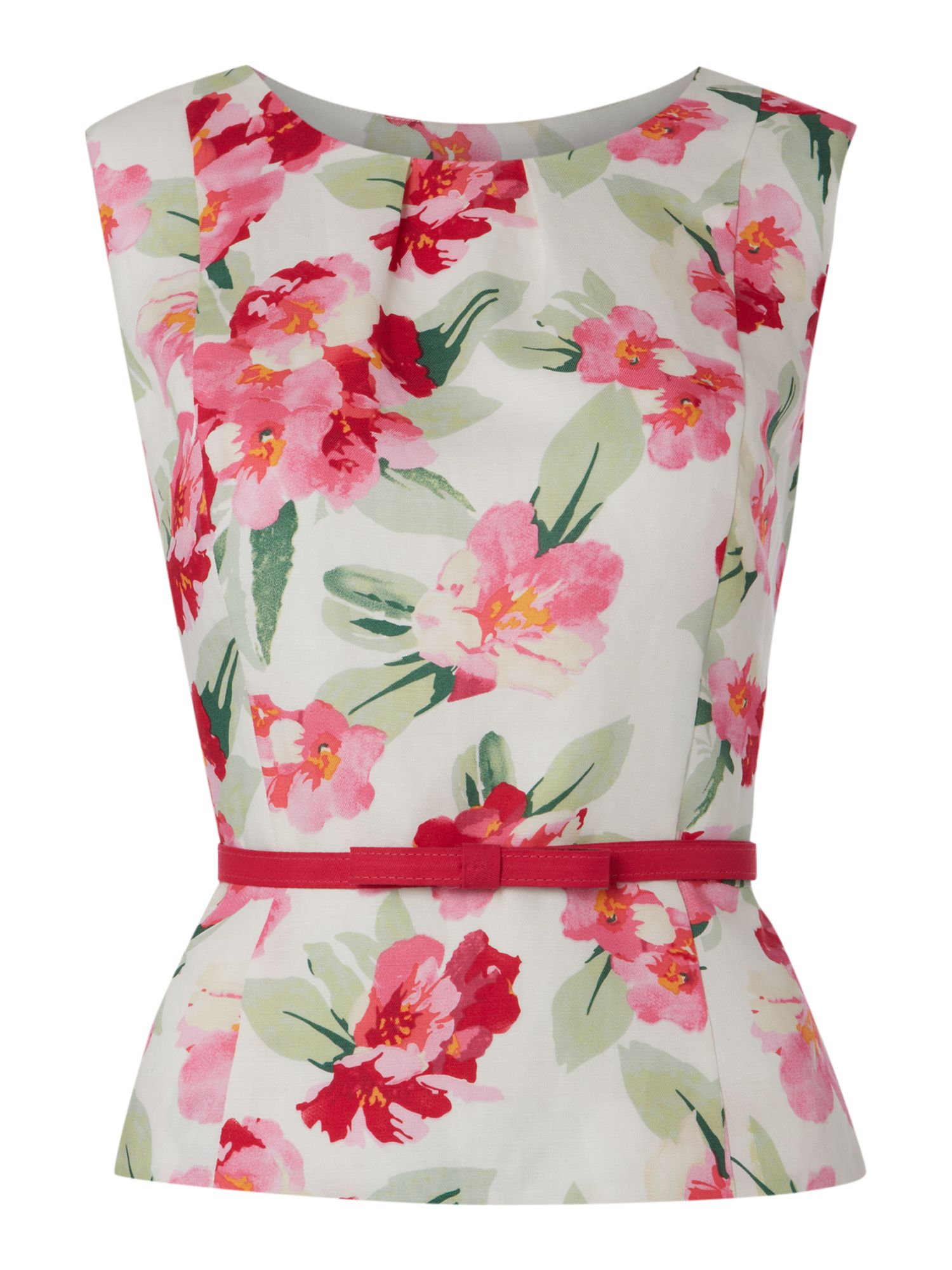 Printed belted linen shell top