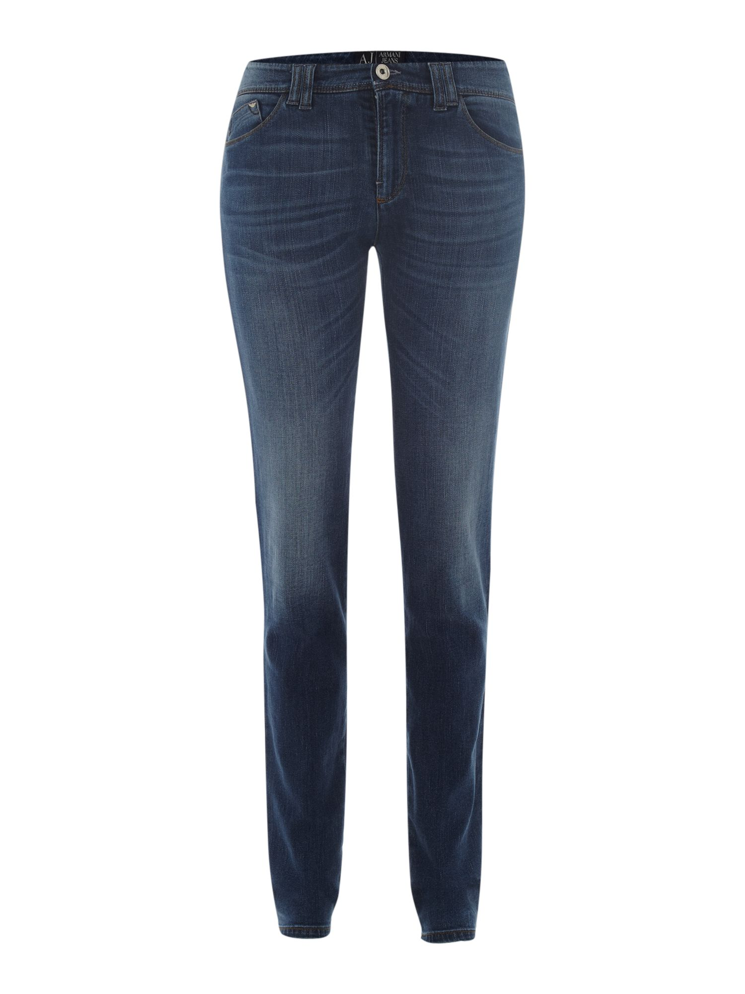 J28 mid-rise skinny jeans with diamante pockets