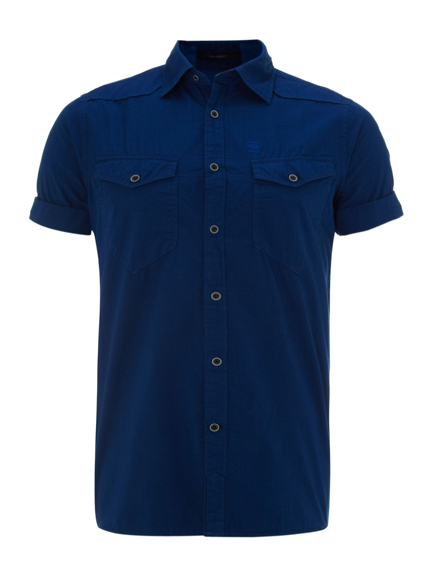 Short sleeve two pocket poplin shirt