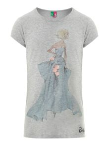 Girl`s Barbie with blue skirt graphic T-shirt