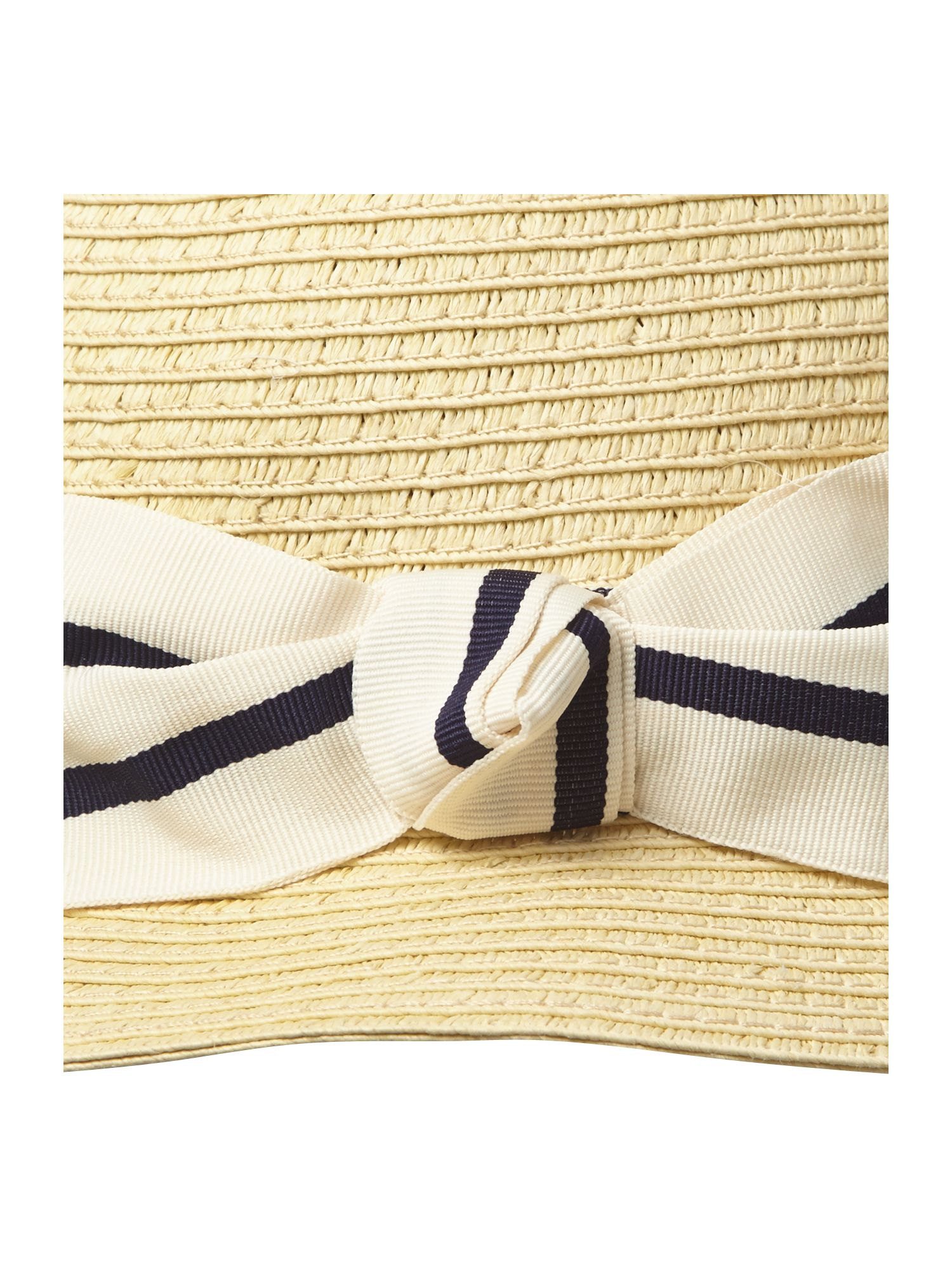 Summer cloche hat with stripe ribbon