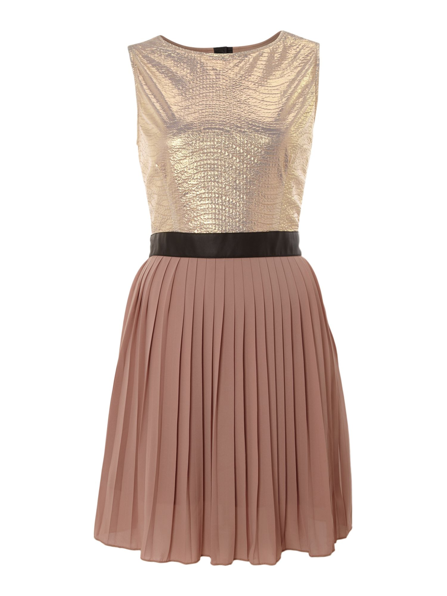 Metallic sheen pleated dress