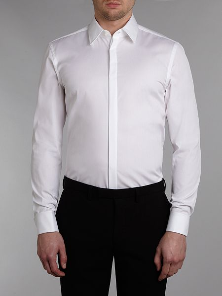 Hugo Boss Ilias Double Cuff Slim Fit Shirt White House