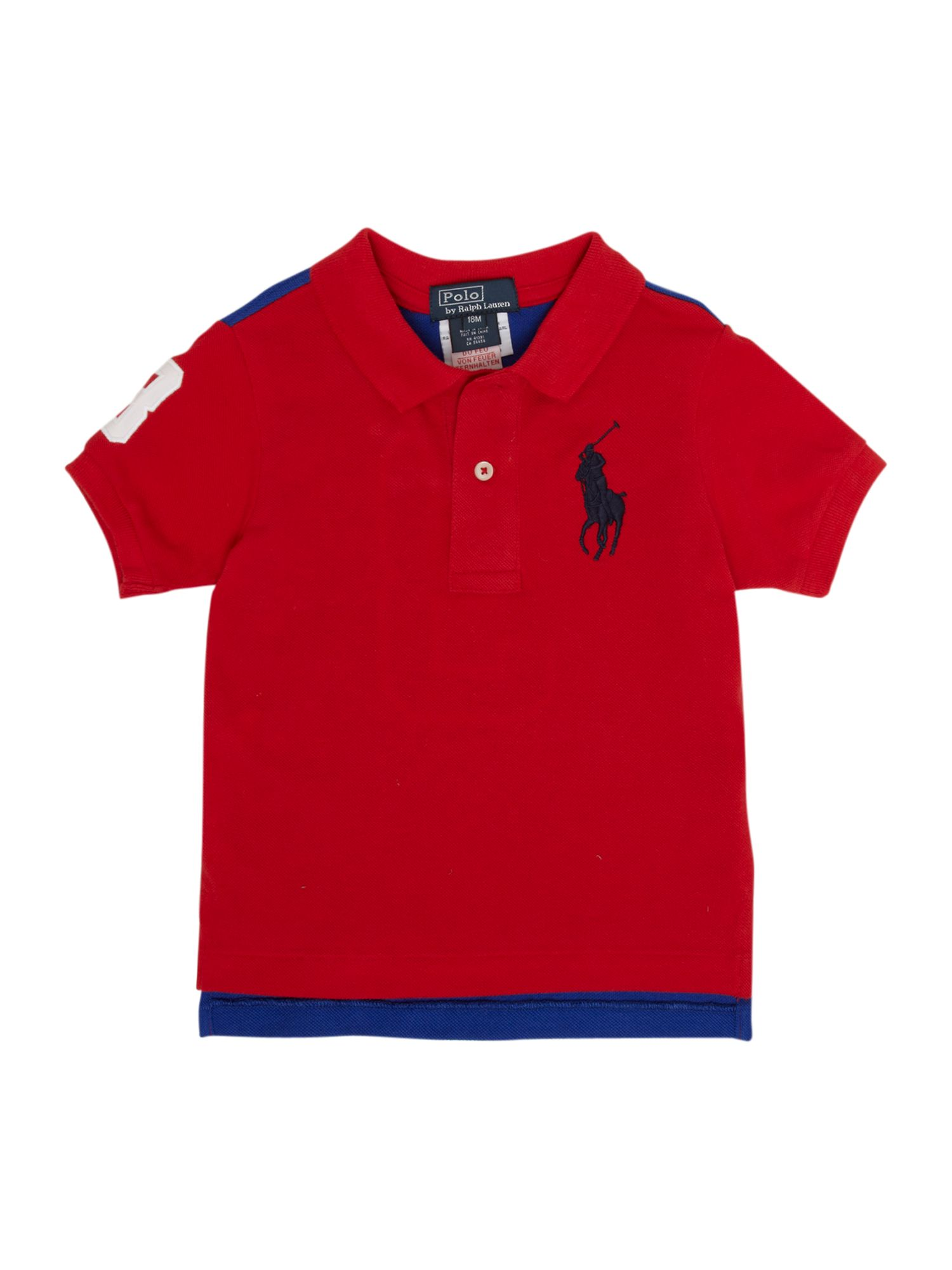 Boy`s short-sleeved contrast back polo shirt
