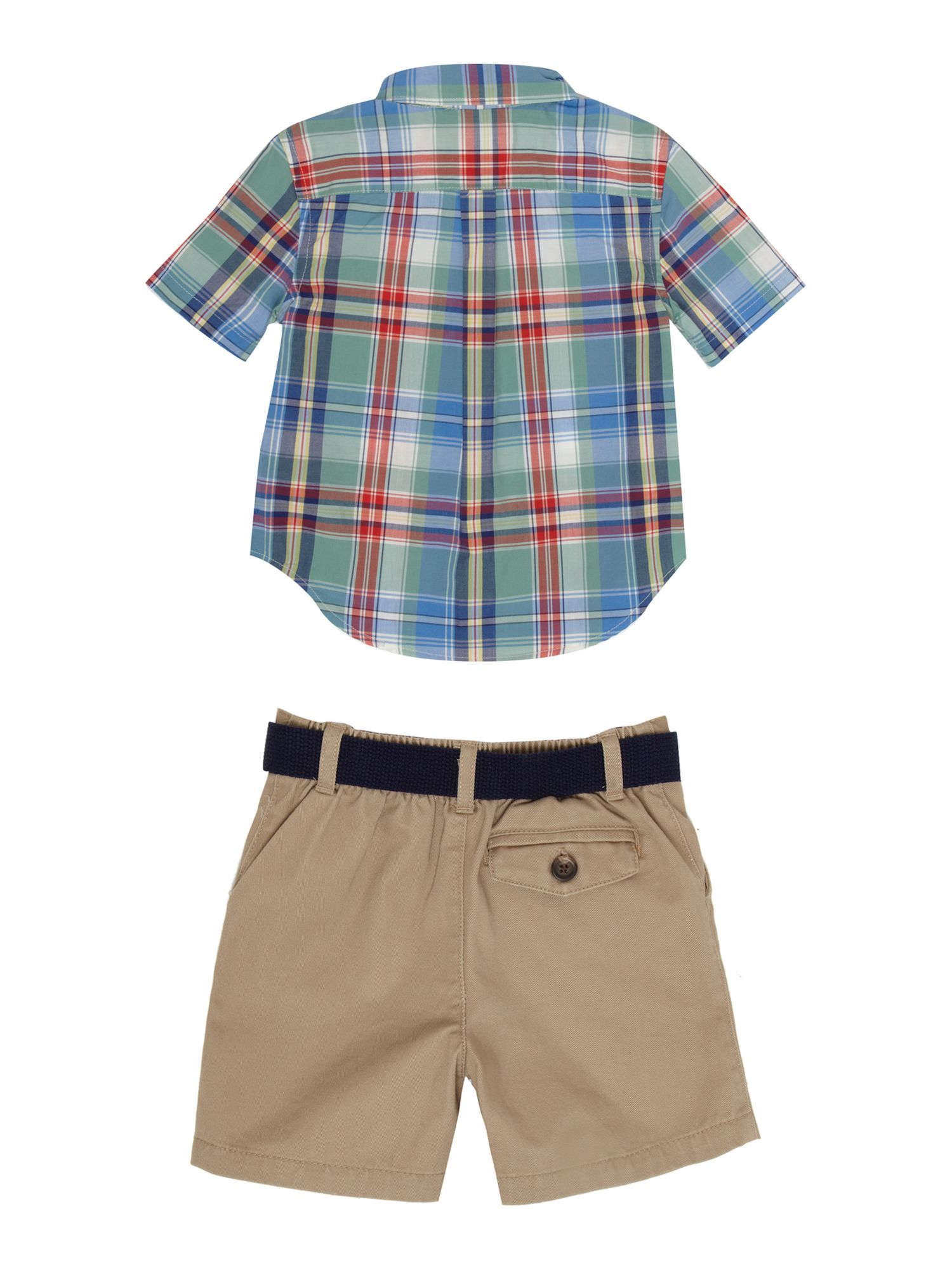 Boy`s checked shirt & cargo shorts set
