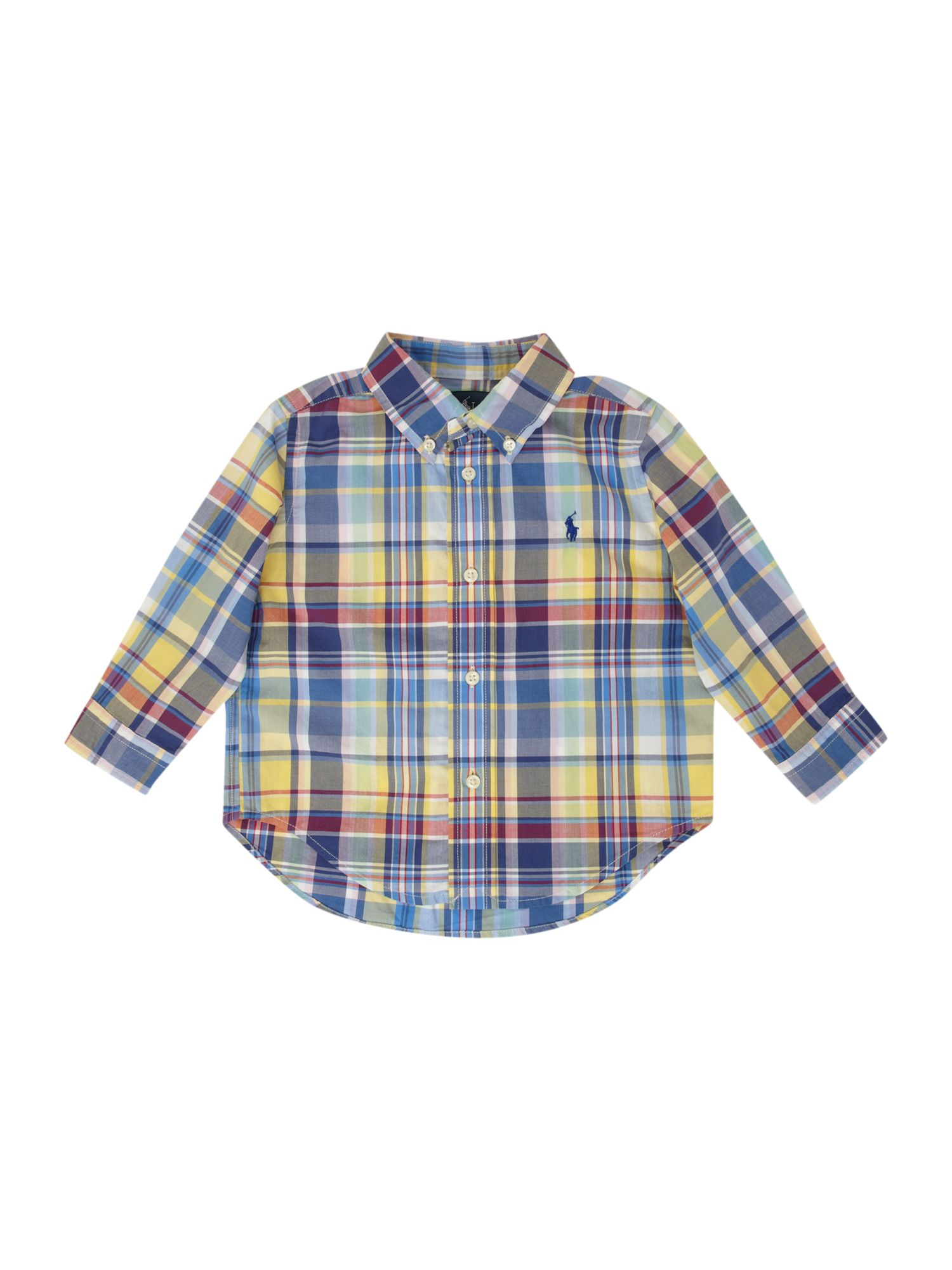 Boy`s long-sleeved yellow check shirt