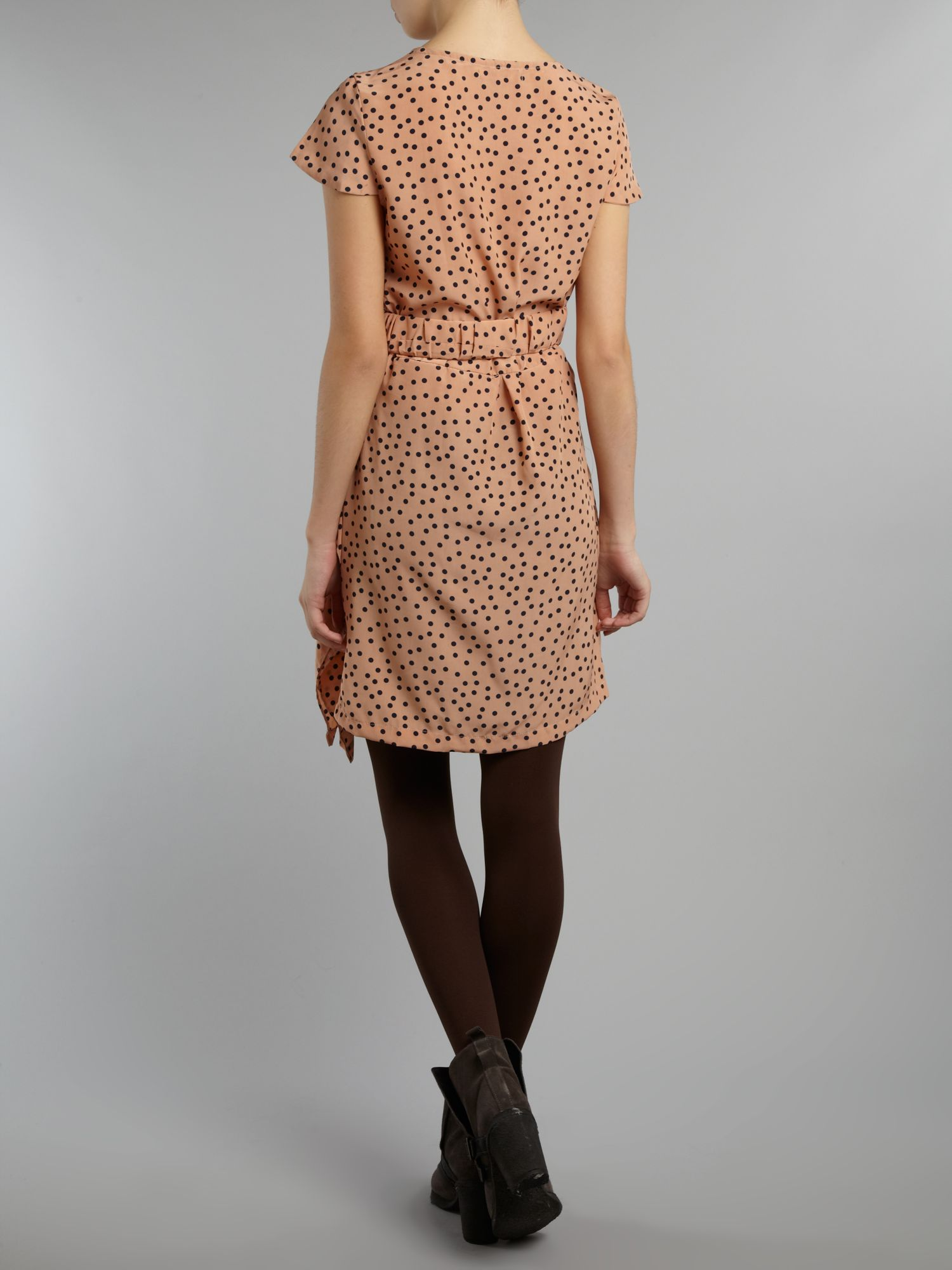 Pleated Polka Dot Classic Dress