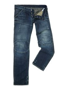 Low waist tapered denim