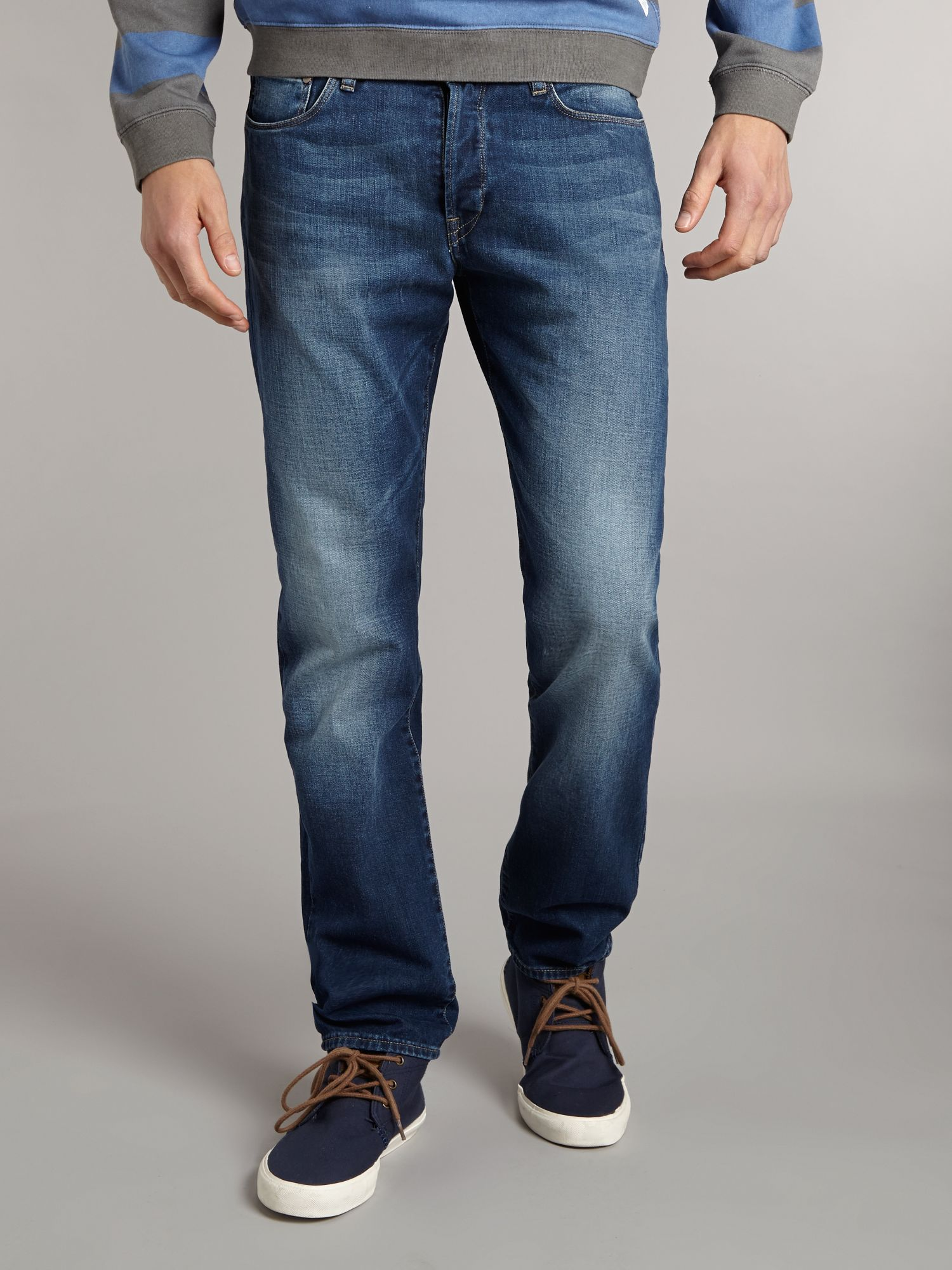 Compact denim tapered fit jeans