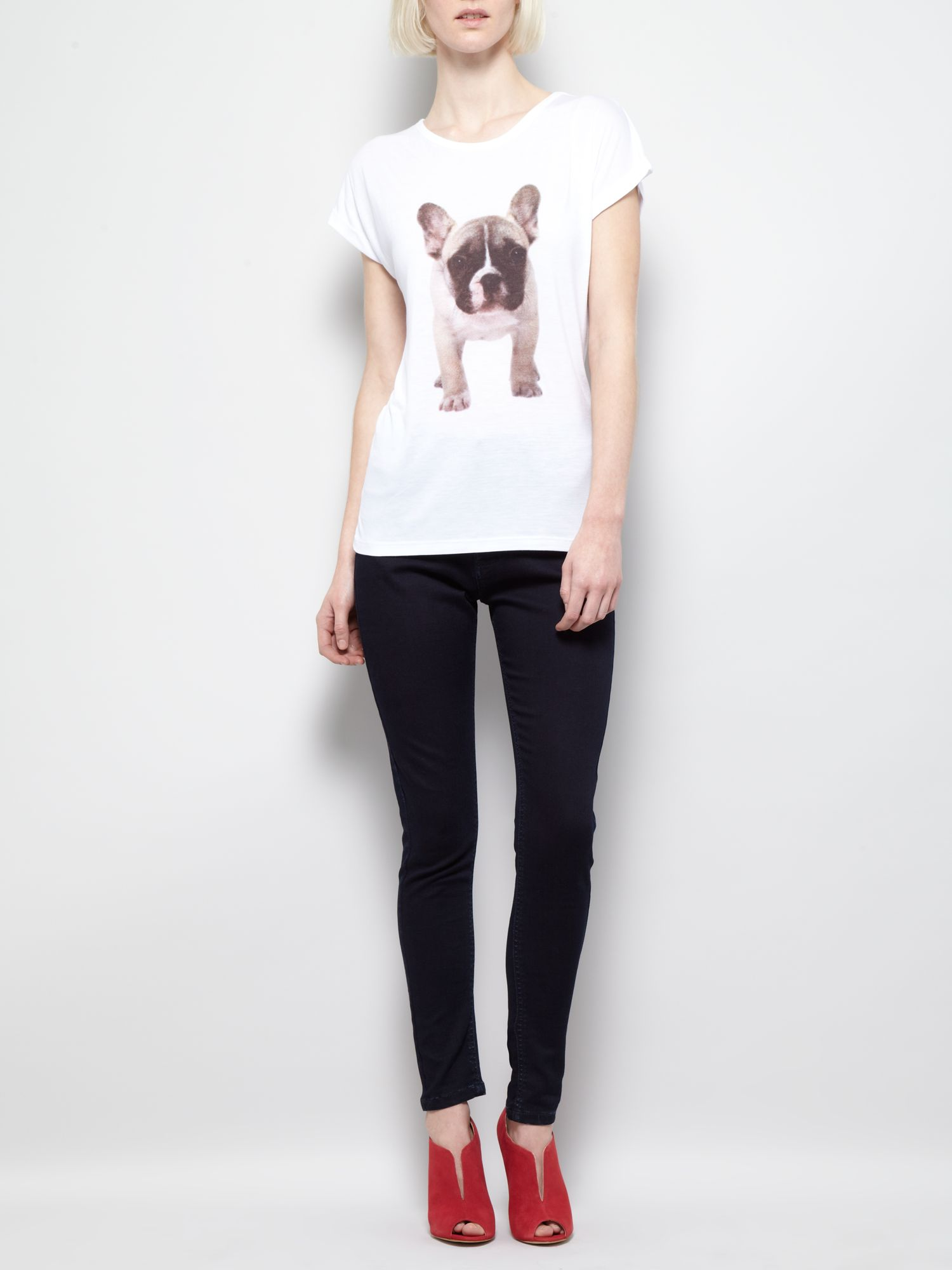 Dog graphic front print t-shirt