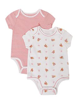 Baby`s 2 pack teddy print & stripe bodysuit