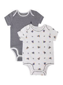 Boy`s 2 pack teddy print & stripe bodysuit